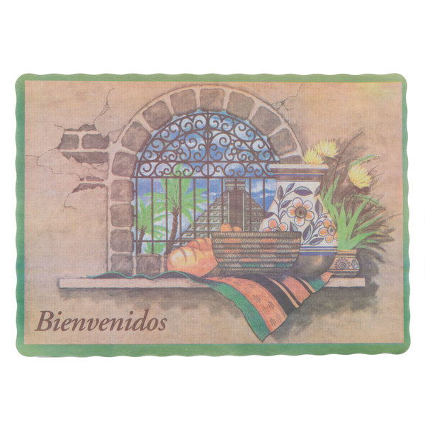 10 inch x 14 inch Mexican Themed Paper Placemat with Scalloped Edge - 1000 / Case