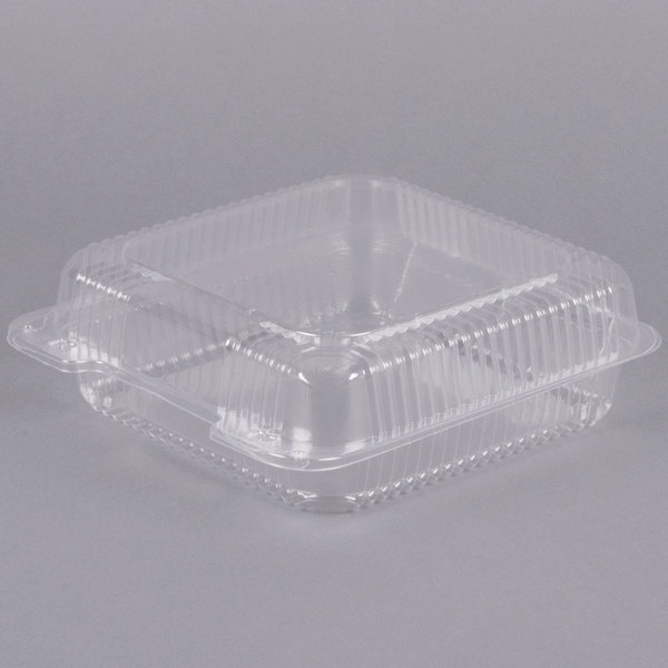 Dart Solo C55UT1 StayLock 9 inch x 8 5/8 inch x 3 inch Clear Hinged Plastic Large Container - 200/Case