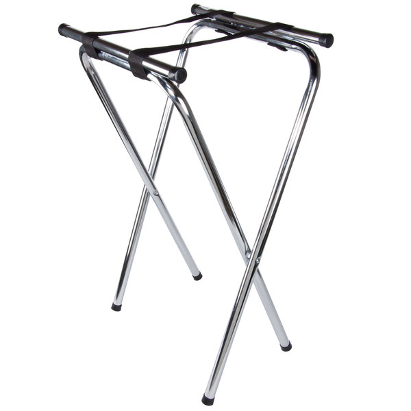 Lancaster Table & Seating 19 inch X 16 inch X 31 inch Folding Chrome Double Bar Tray Stand