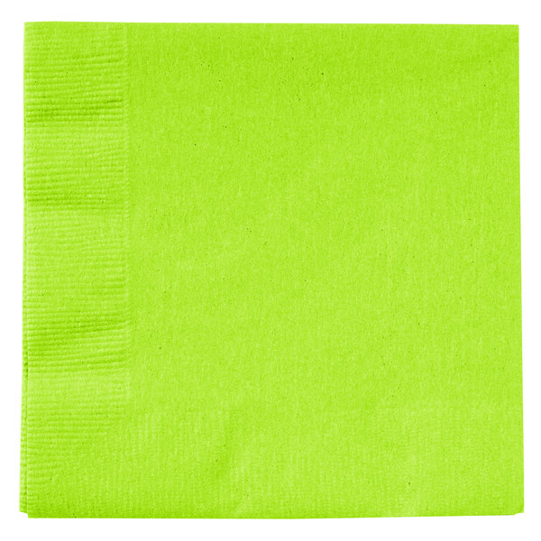 Creative Converting 803123B Fresh Lime Green 2-Ply Beverage Napkin - 600/Case