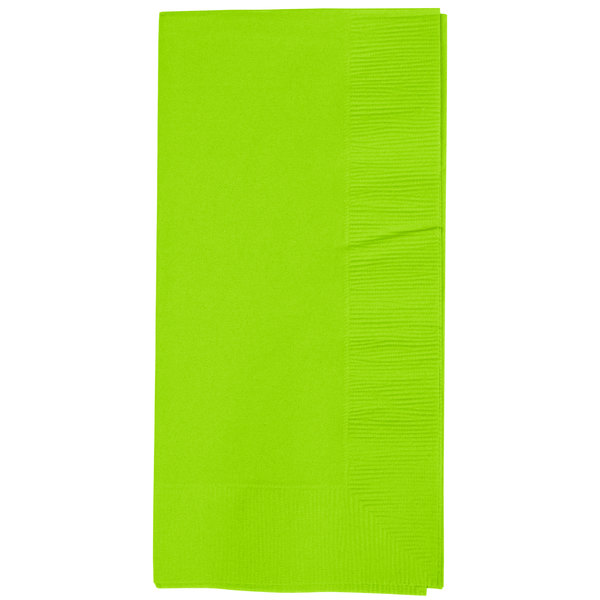 Fresh Lime Green Paper Dinner Napkins, 2-Ply 1/8 Fold - Creative Converting 673123B - 600/Case