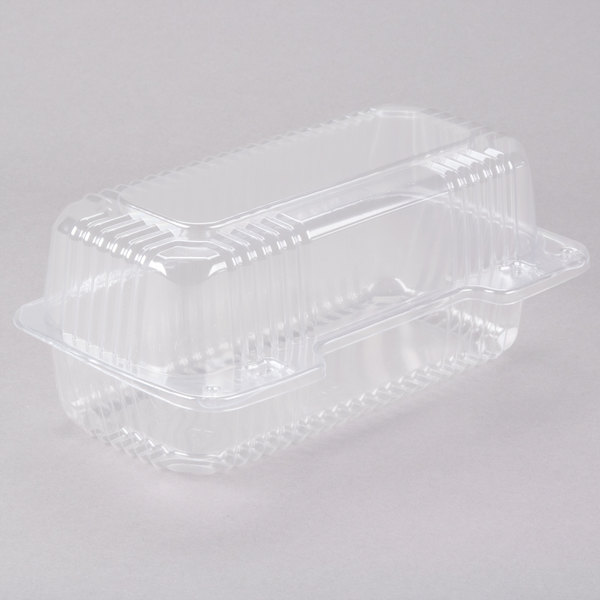Dart Solo C19UT1 StayLock 8 1/2 inch x 4 1/2 inch x 3 5/8 inch Clear Hinged Plastic Small High Dome Oblong Container - 250/Case