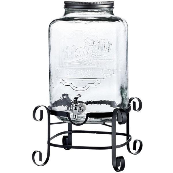 3 gallon style setter main street glass beverage dispenser with metal stand. Black Bedroom Furniture Sets. Home Design Ideas