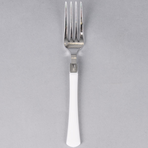 Silver Visions 7 inch Heavy Weight Plastic Fork with White Handle - 20 / Pack
