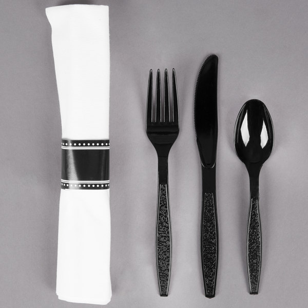 Visions 17 inch x 17 inch White Pre-Rolled Linen-Feel Napkin and Black Heavy Weight Plastic Cutlery Set - 25/Pack