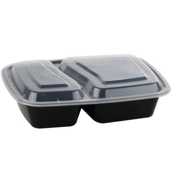 Black 30 oz. 8 1/2 inch x 6 inch x 1 7/8 inch Two Compartment Rectangular Microwavable Container with Lid - 150 / Case