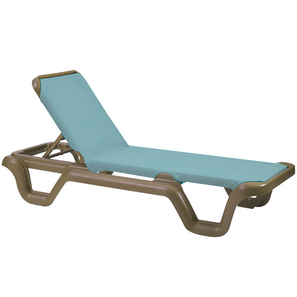 Outdoor chaise lounges sling chairs for Blue sling chaise lounge