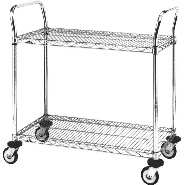 Metro MW605 Super Erecta 18 inch x 36 inch x 38 inch Two Shelf Standard Duty Chrome Utility Cart