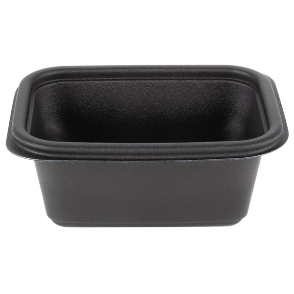 Genpak FPR016-3L Smart-Set Pro 16 oz. Black 4 5/8 inch x 5 7/8 inch x 2 3/8 inch Rectangular Microwaveable Container - 300/Case