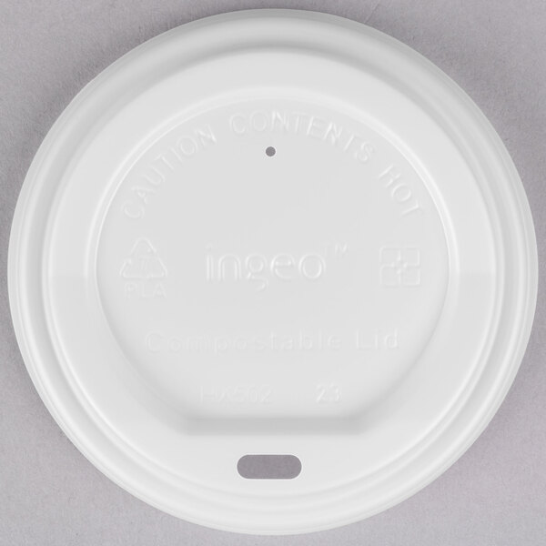 EcoChoice 10-20 oz. White Compostable and Biodegradable Paper Hot Cup Lid - 50/Pack