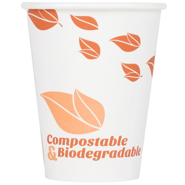 EcoChoice 12 oz. White Compostable and Biodegradable Paper Hot Cup with Leaf Design - 50/Pack