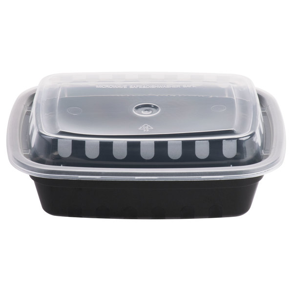 Choice 12 oz. Black 6 inch x 4 3/4 inch x 1 3/4 inch Rectangular Microwavable Heavyweight Container with Lid - 150/Case