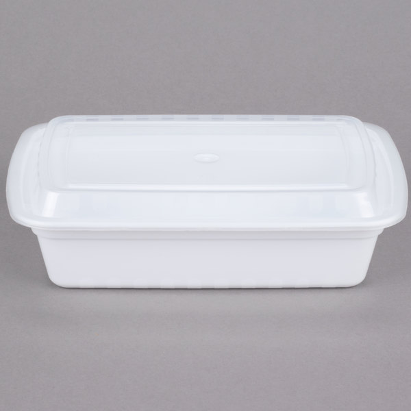 Choice 38 oz. White 8 3/4 inch x 6 1/4 inch x 2 inch Rectangular Microwavable Heavyweight Container with Lid - 150/Case