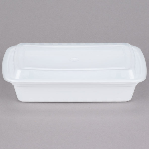 Choice 28 oz. White 8 3/4 inch x 6 1/4 inch x 1 3/4 inch Rectangular Microwavable Heavyweight Container with Lid - 150/Case