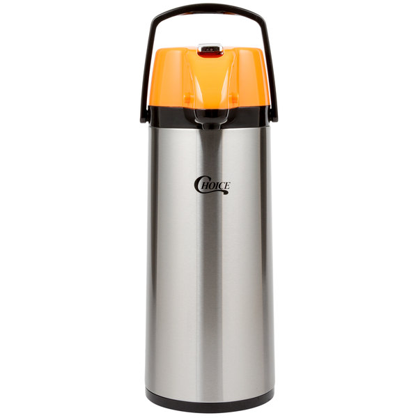 Choice 2.5 Liter Glass Lined Stainless Steel Decaf Airpot with Orange Lever