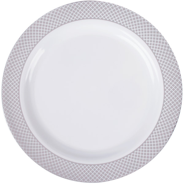 Silver Visions 9 inch White Plastic Plate with Silver Lattice Design - 120/Case