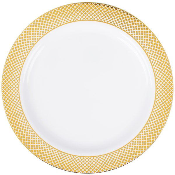 Silver Visions 10 inch White Plastic Plate with Gold Lattice Design - 12/Pack
