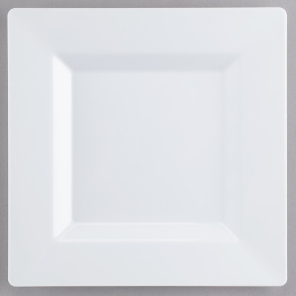 Visions Florence 8 inch Square White Plastic Plate - 10/Pack