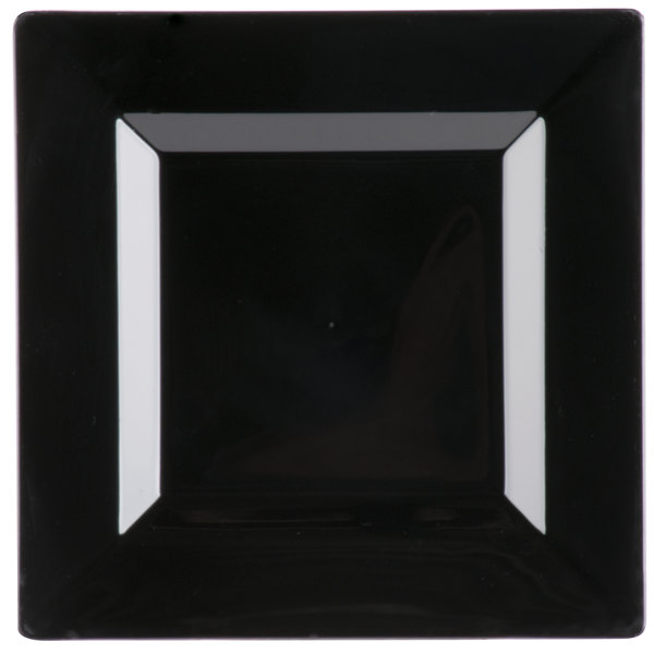 Visions Florence 6 inch Square Black Plastic Plate  - 120/Case