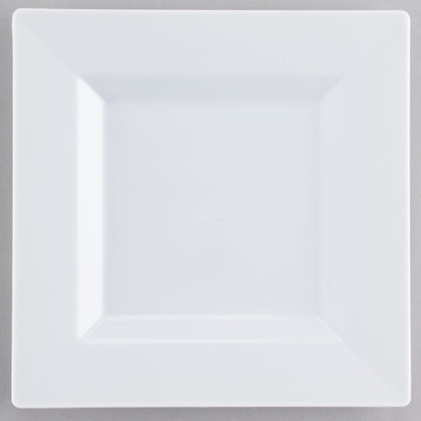 Visions Florence 6 inch Square White Plastic Plate - 120/Case