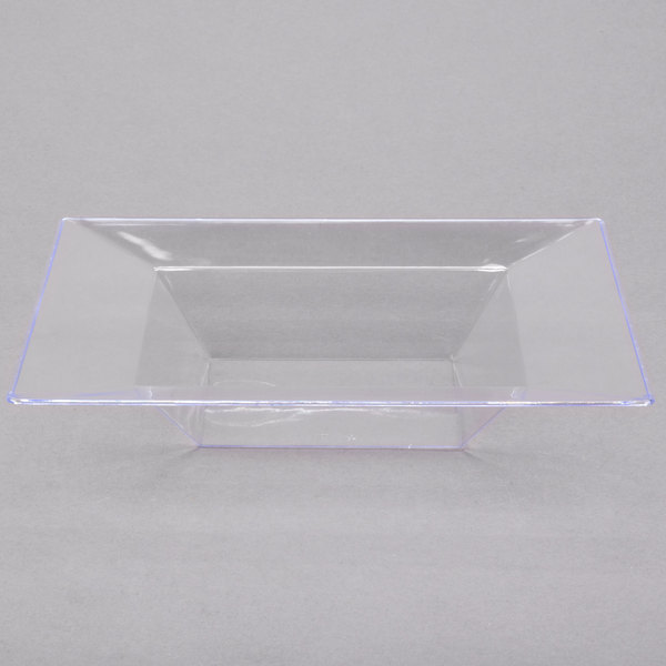 Visions Florence 12 oz. Clear Square Plastic Bowl - 10/Pack