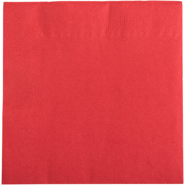 Choice 10 inch x 10 inch Red 2-Ply Beverage / Cocktail Napkins - 250 / Pack