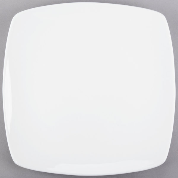 World Tableware 840-470S Porcelana Coupe 11 inch Square Bright White Porcelain Plate - 12/Case