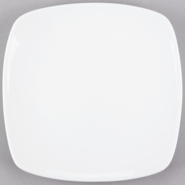 World Tableware 840-460S Porcelana Coupe 7 1/4 inch Bright White Square Porcelain Plate - 36/Case