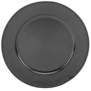Tabletop Classics TRB-6655 13 inch Black Round Acrylic Charger Plate with Beaded Rim