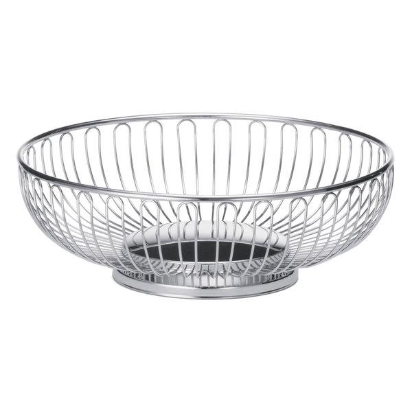 Tablecraft 4177 Small Round Chrome Basket - 7 1/2 inch x 2 5/8 inch