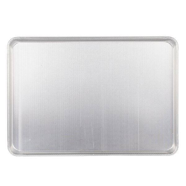 18 inch x 26 inch Full Size 16 Gauge Wire in Rim Fully Perforated Glazed Aluminum Sheet Pan