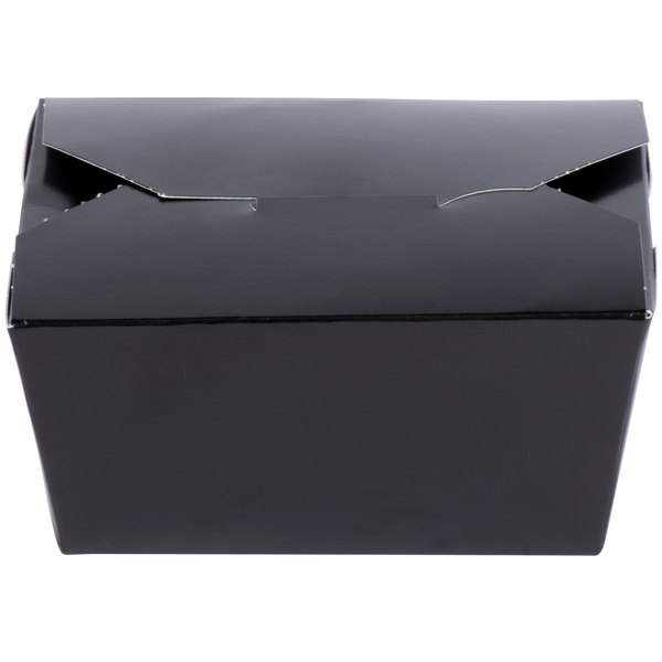 Southern Champion 0781 ChampPak Retro 4 3/8 inch x 3 1/2 inch x 2 1/2 inch Black Paper #1 Take-Out Container - 450/Case