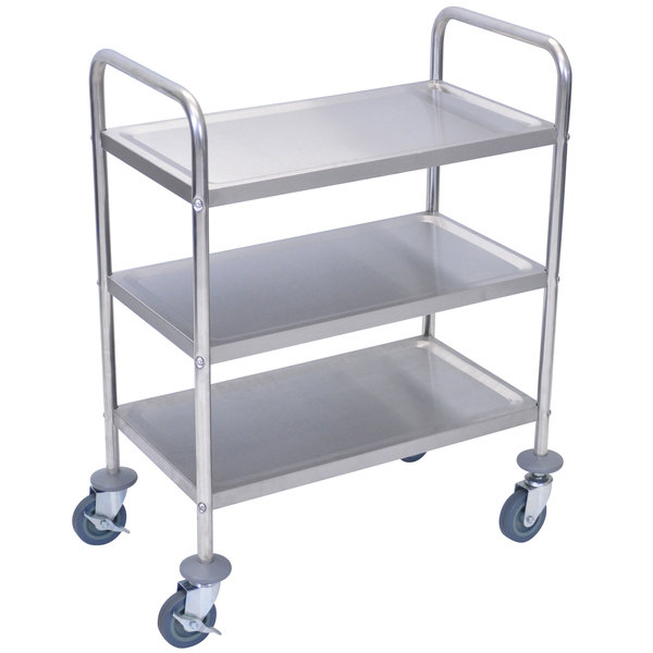 Luxor L100S3 Stainless Steel 3 Shelf Utility Cart - 16 inch x 26 inch x 35 inch