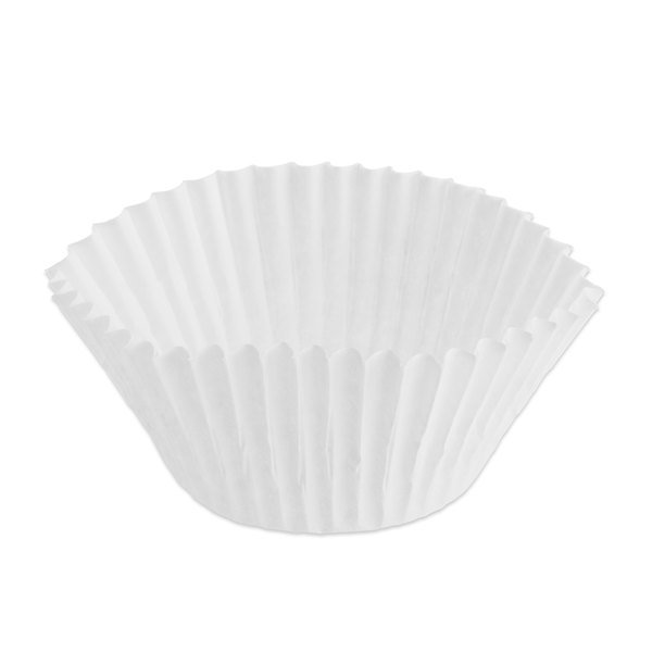 Hoffmaster 610040 2 inch x 1 3/8 inch White Fluted Baking Cup 10,000/Case