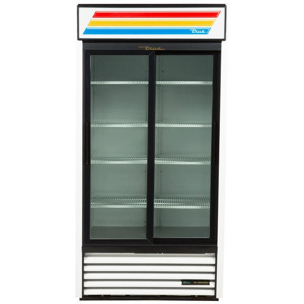 True GDM-33-HC-LD 39 1/2 inch White Glass Sliding Door Merchandiser with LED Lighting