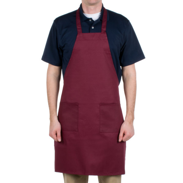 Choice Burgundy Full Length Bib Apron with Pockets - 34 inchL x 30 inchW