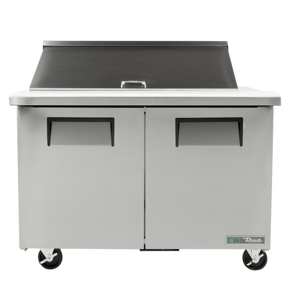 True TSSU-48-18M-B-HC 48 inch Mega Top Two Door Sandwich / Salad Prep Refrigerator