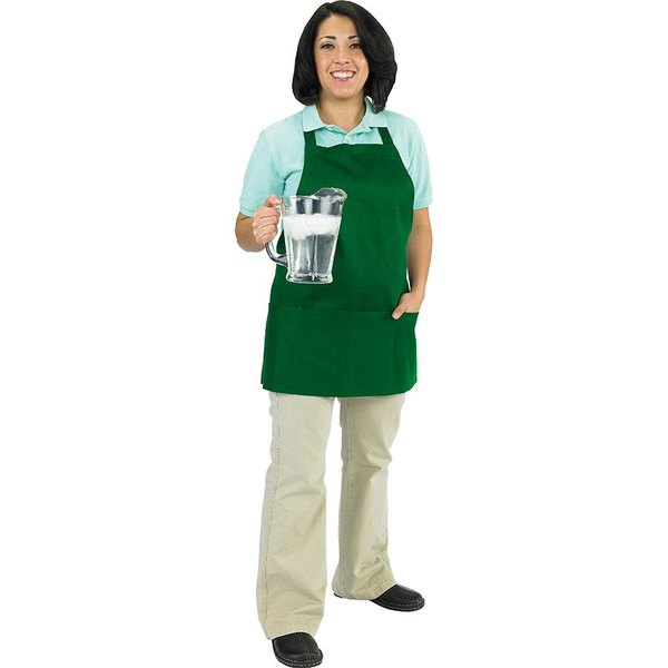 Chef Revival 602BAFH-GN Customizable Professional Front of the House Kelly Green Bib Apron - 28 inchL x 25 inchW