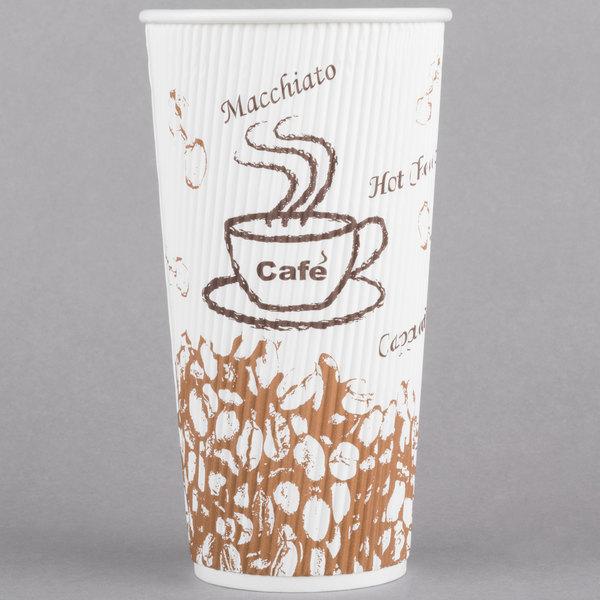 Choice 20 oz. Sleeveless Bean Print Paper Hot Cup - 500/Case