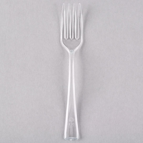 Visions 3 7/8 inch Clear Plastic Tasting Fork  - 500/Case
