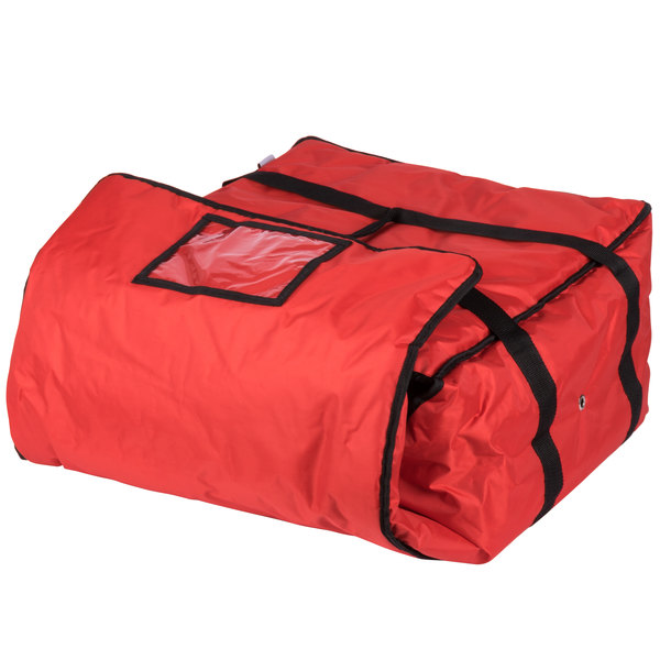 ServIt 20 inch x 20 inch x 12 inch Red Soft-Sided Heavy-Duty Nylon Insulated Pizza Delivery Bag - Holds Up To (6) 16 inch, (5) 18 inch, or (4) 20 inch Pizza Boxes