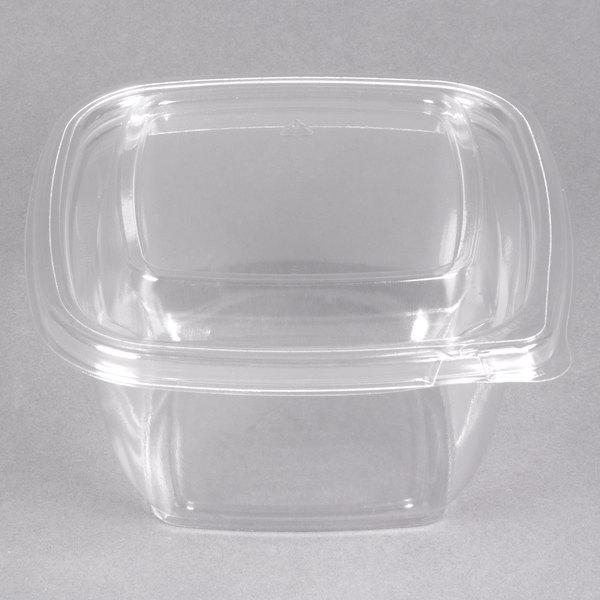 Sabert C15016TR250 Bowl2 16 oz. Clear PETE Square Tamper Evident Bowl with Lid - 250/Case