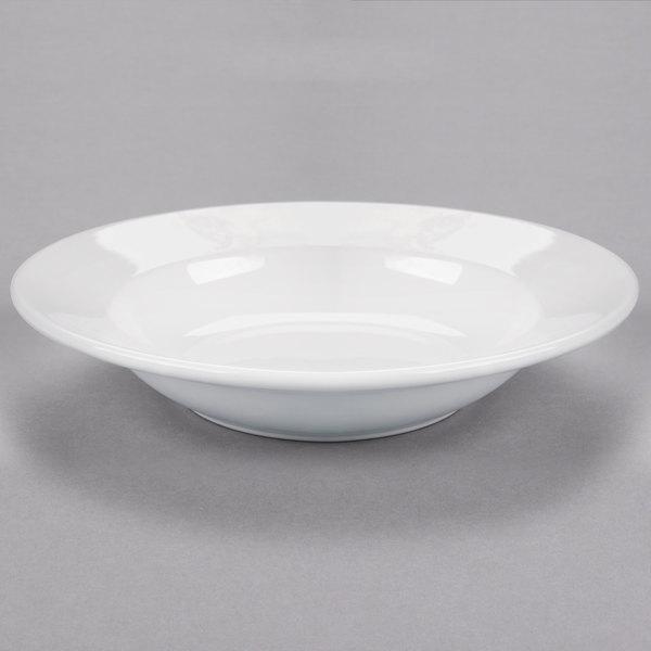 Core 10 oz. Bright White Wide Rim Rolled Edge Rim China Soup and Pasta Bowl - 24/Case