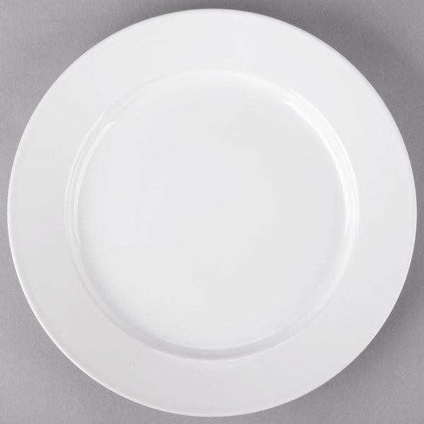 Core 10 1/2 inch Bright White Wide Rim Rolled Edge China Plate  - 12/Case