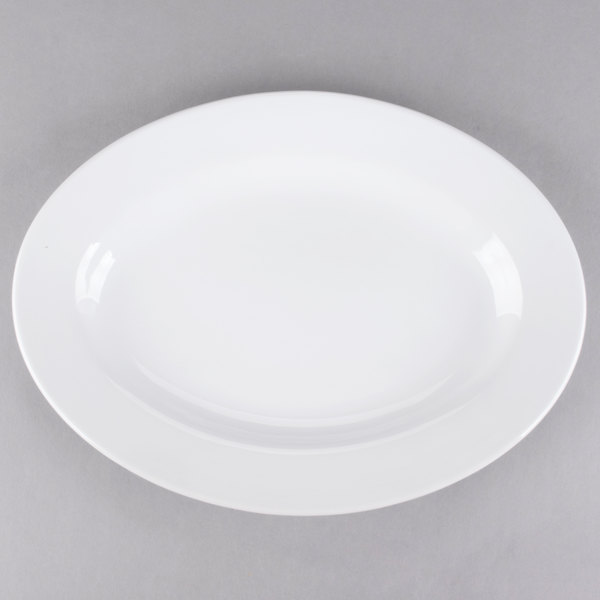 Core 13 3/4 inch x 10 inch Bright White Wide Rim Rolled Edge Oval China Platter - 12/Case