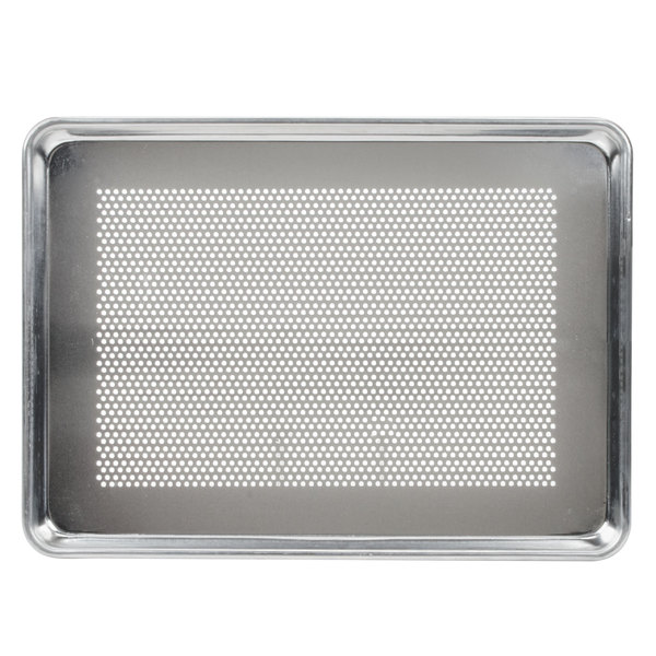 Baker's Mark 18 inch x 13 inch Perforated Half Size 19 Gauge Wire in Rim Aluminum Bun / Sheet Pan