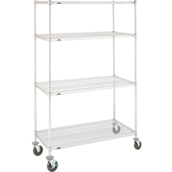 Metro Super Erecta N536BC Chrome Mobile Wire Shelving Unit with Rubber Casters 24 inch x 36 inch x 69 inch