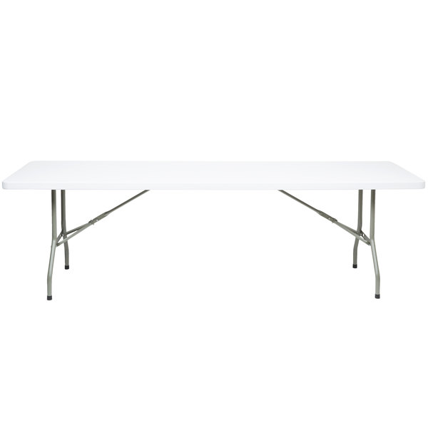 Folding Table, 30 inch x 96 inch Heavy Duty Plastic, White Granite - Lancaster Table & Seating