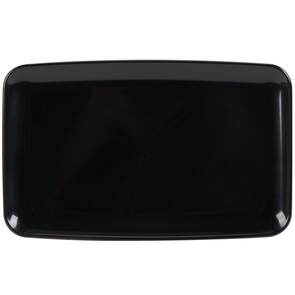 Sabert 9306 Mozaik 9 1/2 inch X 6 inch Black Plastic Platter / Catering Tray - 72/Case
