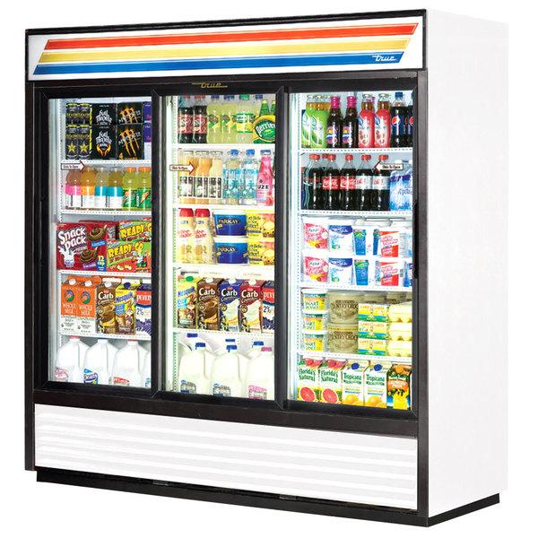 True GDM-69-LD-HC 78 inch White Refrigerated Sliding Glass Door Merchandiser with LED Lighting